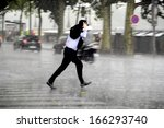 running man in the rain | Shutterstock . vector #166293740