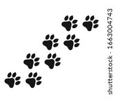 paw icon vector. paw print icon ... | Shutterstock .eps vector #1663004743