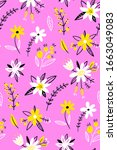 floral seamless pattern. spring ...   Shutterstock .eps vector #1663049083