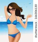 bikini girl | Shutterstock .eps vector #166306130