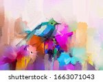abstract colorful oil  acrylic... | Shutterstock . vector #1663071043