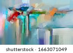 abstract colorful oil painting... | Shutterstock . vector #1663071049