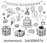 set of decoration and food... | Shutterstock .eps vector #1663080076