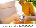 happy delivery man in yellow... | Shutterstock . vector #1663096366