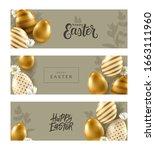 set of vector easter banners.... | Shutterstock .eps vector #1663111960