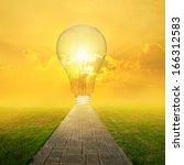 concrete road and big idea bulb ... | Shutterstock . vector #166312583