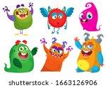 cute cartoon monsters. set of... | Shutterstock . vector #1663126906