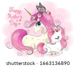 two hand drawn cute mom and...   Shutterstock .eps vector #1663136890