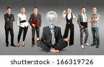 idea concept. lamp head and... | Shutterstock . vector #166319726