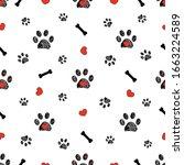 doodle black paw prints  bone...   Shutterstock .eps vector #1663224589