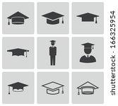 vector black academic cap icons ...   Shutterstock .eps vector #166325954