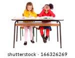 little kids at school isolated... | Shutterstock . vector #166326269