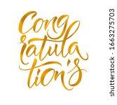 gold congratulations card. hand ... | Shutterstock .eps vector #1663275703