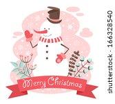 cheerful snowman christmas... | Shutterstock .eps vector #166328540
