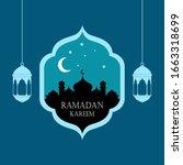 ramadan background with hanging ... | Shutterstock .eps vector #1663318699