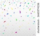 multi colored falling confetti. ... | Shutterstock .eps vector #1663374136