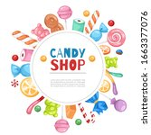 candy shop confectionery and... | Shutterstock .eps vector #1663377076