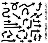 black arrows. bold flat icons....   Shutterstock . vector #1663385620