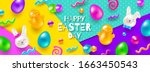 easter greeting card. colorful... | Shutterstock .eps vector #1663450543