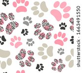 Seamless Cats Paws Pattern With ...