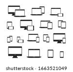 set of device icons. monitor ... | Shutterstock .eps vector #1663521049