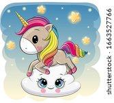 cute cartoon unicorn is lying a ... | Shutterstock .eps vector #1663527766