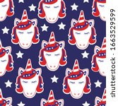 patriotic unicorn face vector... | Shutterstock .eps vector #1663529599