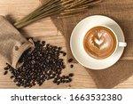 hot cappuccino coffee in white... | Shutterstock . vector #1663532380
