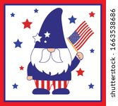 patriotic gnome with the... | Shutterstock .eps vector #1663538686
