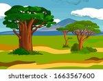 savanna landscape summer... | Shutterstock . vector #1663567600