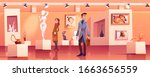 visitors in museum with modern...   Shutterstock .eps vector #1663656559