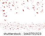 Falling bright red Glitter confetti, ribbon, stars celebration, serpentine isolated on white background. confetti flying on the floor. New year, birthday, valentines day design element.