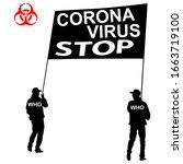 stop coronavirus two carry a... | Shutterstock . vector #1663719100