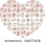 assorted cakes in heart shape | Shutterstock .eps vector #166372628