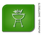 barbecue with fire sign. silver ... | Shutterstock .eps vector #1663730173