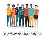 group of people wearing... | Shutterstock .eps vector #1663755139