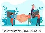 flat vector illustration.people ... | Shutterstock .eps vector #1663766509