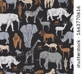 hand drawn african animals and... | Shutterstock .eps vector #1663770616
