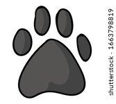 Cute Cartoon Grey Dog Paw Print ...