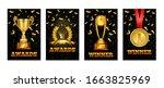 set of gold laurel wreath award ... | Shutterstock .eps vector #1663825969