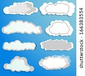 set of clouds for use in youre... | Shutterstock .eps vector #166383554