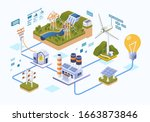 energy distribution from the... | Shutterstock .eps vector #1663873846
