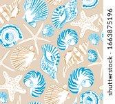 seamless pattern of sea shells. ... | Shutterstock .eps vector #1663875196