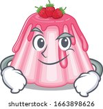 cool strawberry jelly mascot... | Shutterstock .eps vector #1663898626