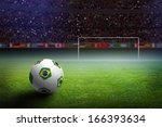 soccer ball with brazil flag on ... | Shutterstock . vector #166393634