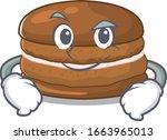 cool chocolate macaron mascot... | Shutterstock .eps vector #1663965013