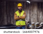 Young Handsome Bearded Worker...