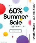60  off summer season sale... | Shutterstock .eps vector #1664015809