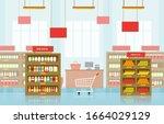 supermarket grocery shelf store ...   Shutterstock .eps vector #1664029129