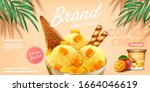 delicious mango ice cup ads... | Shutterstock .eps vector #1664046619